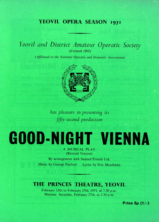 YAOS Production of 'Good-Night Vienna' 1971 - Programme Front Cover