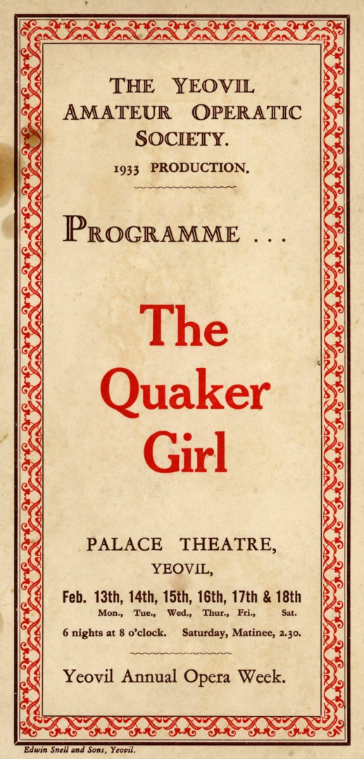 YAOS 1933 Production 'The Quaker Girl' - Programme Front Cover