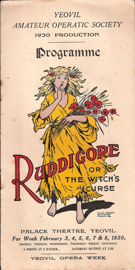 YAOS 1930 Production of 'Ruddigore' - Programme Front Cover for Ladies