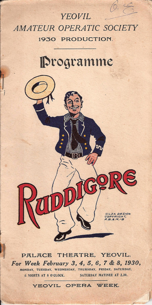 YAOS 1930 Production of 'Ruddigore' - Programme Front Cover for Gentlemen