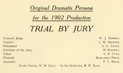 The Cast of 'Trial by Jury' 1902