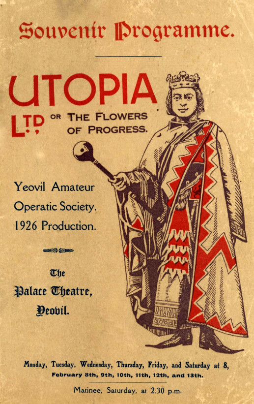 YAOS 1926 Production 'Utopia Limited' - Programme Front Cover